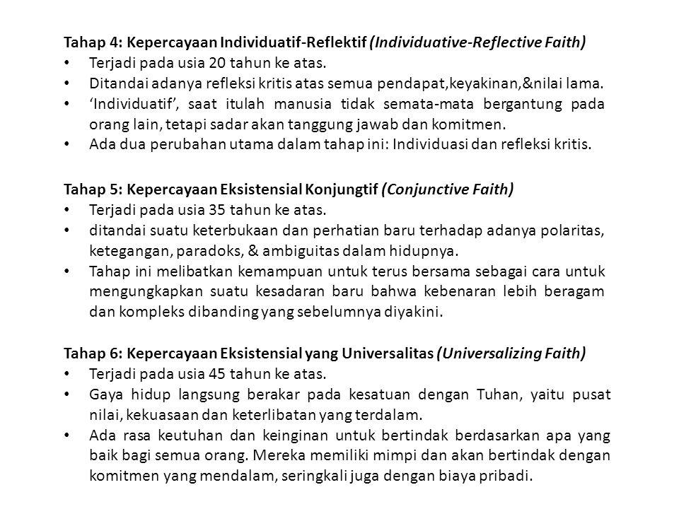 Tahap 4: Kepercayaan Individuatif-Reflektif (Individuative-Reflective Faith) Terjadi pada usia 20 tahun ke atas. Ditandai adanya refleksi kritis atas