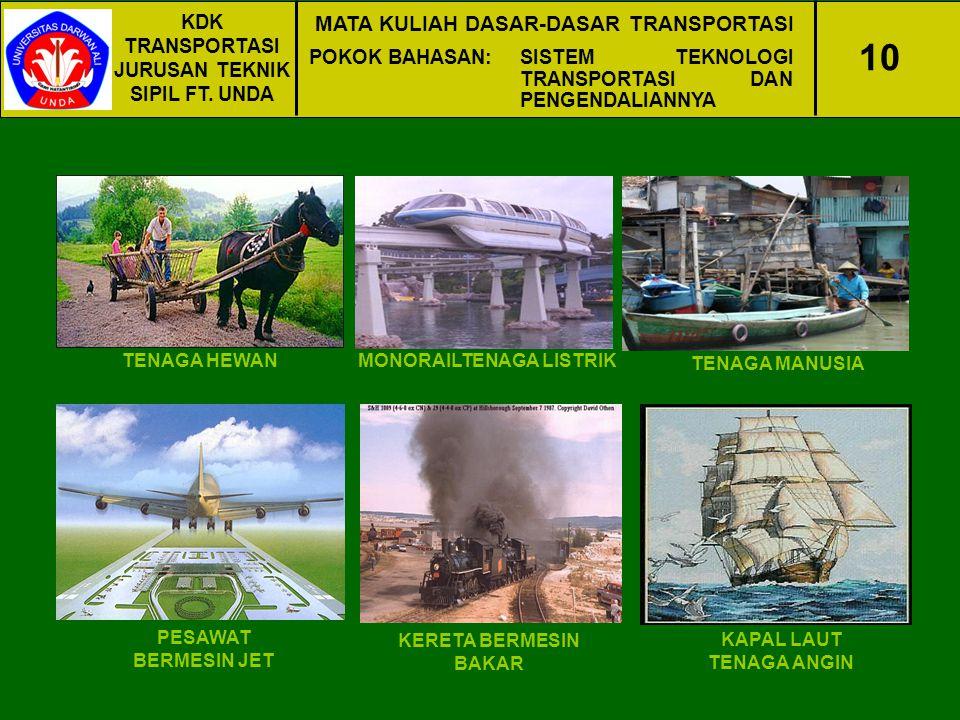 KDK TRANSPORTASI JURUSAN TEKNIK SIPIL FT. UNDA MATA KULIAH DASAR-DASAR TRANSPORTASI POKOK BAHASAN:SISTEM TEKNOLOGI TRANSPORTASI DAN PENGENDALIANNYA 10