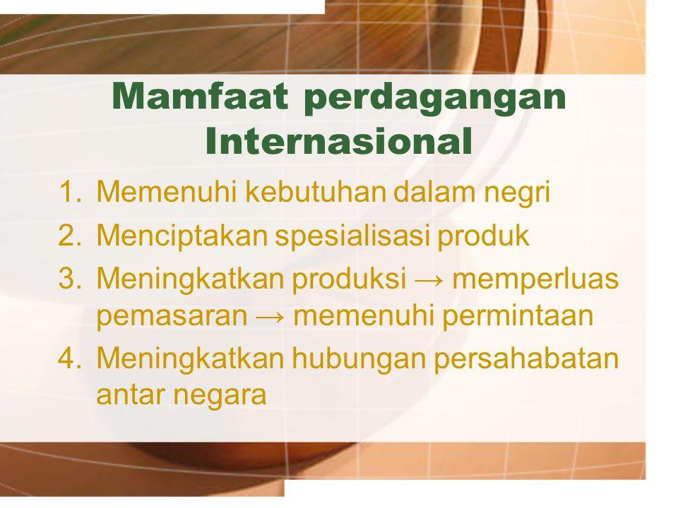 Mamfaat perdagangan Internasional 1.Memenuhi kebutuhan dalam negri 2.Menciptakan spesialisasi produk 3.Meningkatkan produksi → memperluas pemasaran →