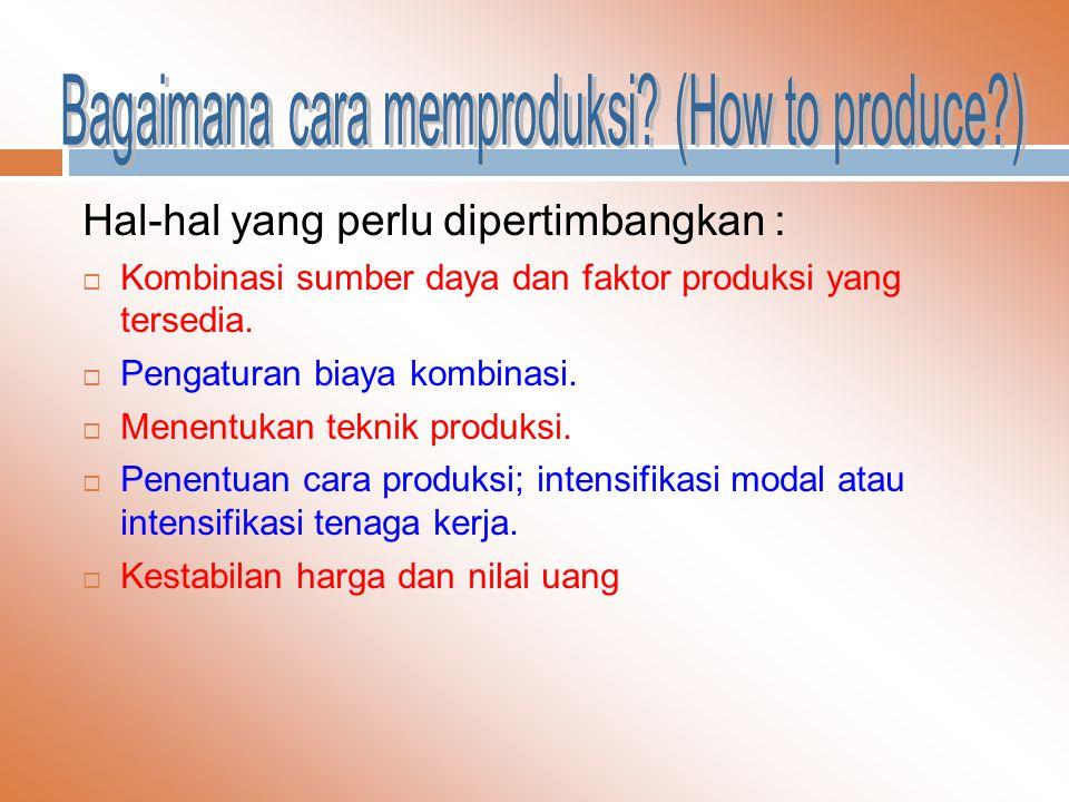 Hal-hal yang perlu dipertimbangkan :  Kombinasi sumber daya dan faktor produksi yang tersedia.  Pengaturan biaya kombinasi.  Menentukan teknik prod