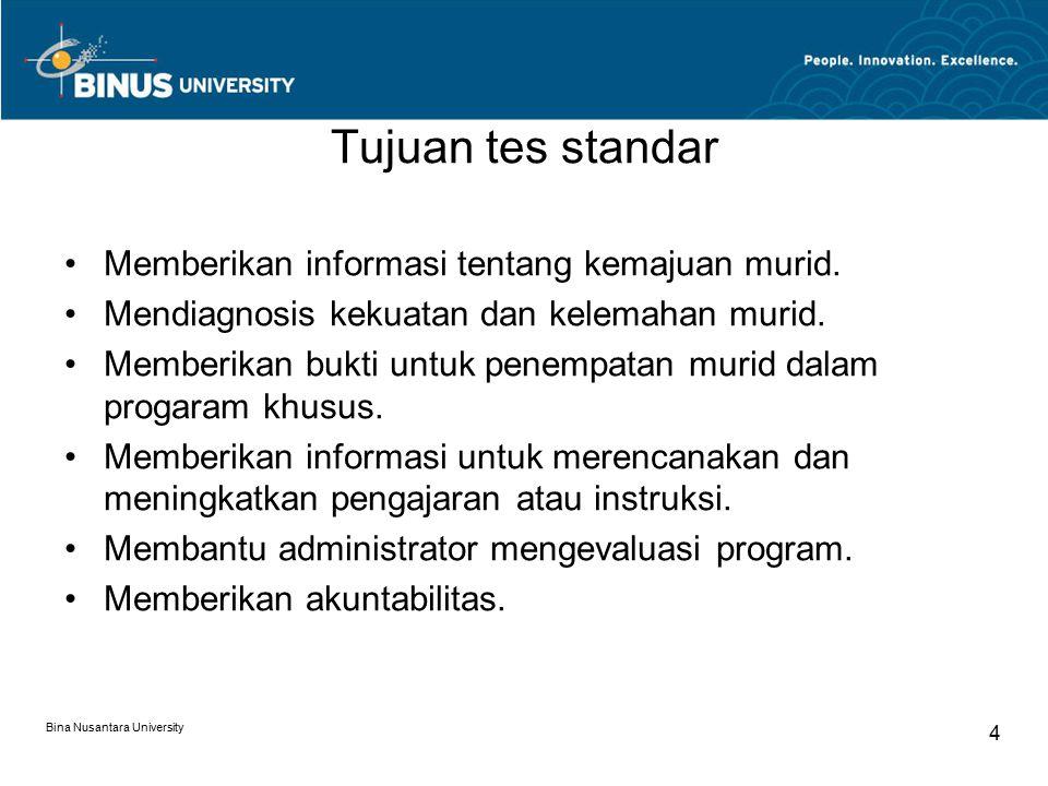Bina Nusantara University 4 Tujuan tes standar Memberikan informasi tentang kemajuan murid.