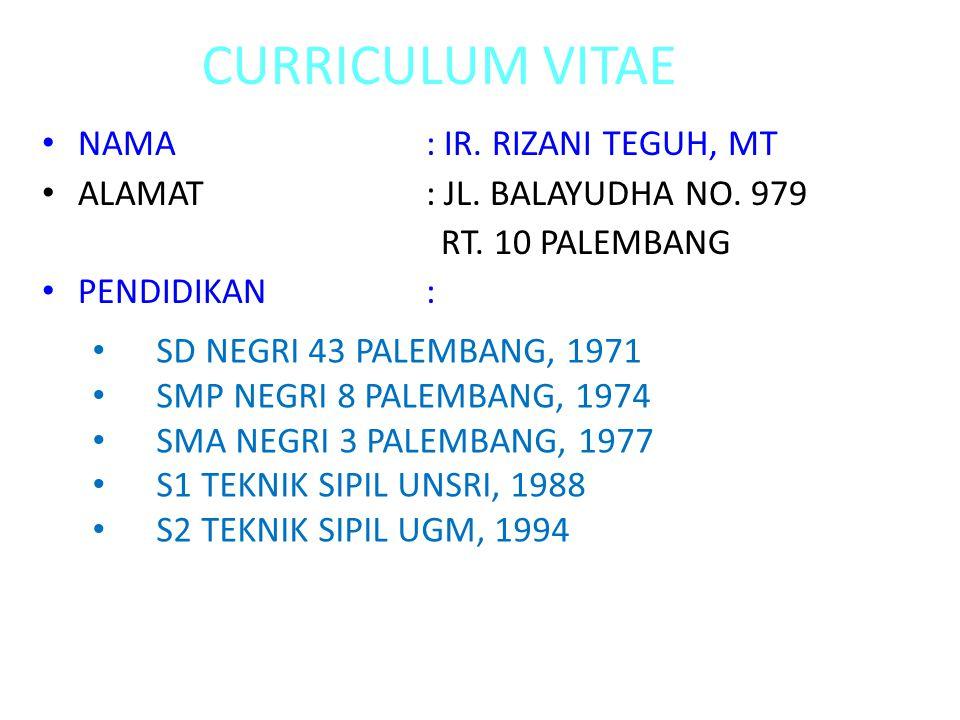 CURRICULUM VITAE NAMA: IR. RIZANI TEGUH, MT ALAMAT: JL.