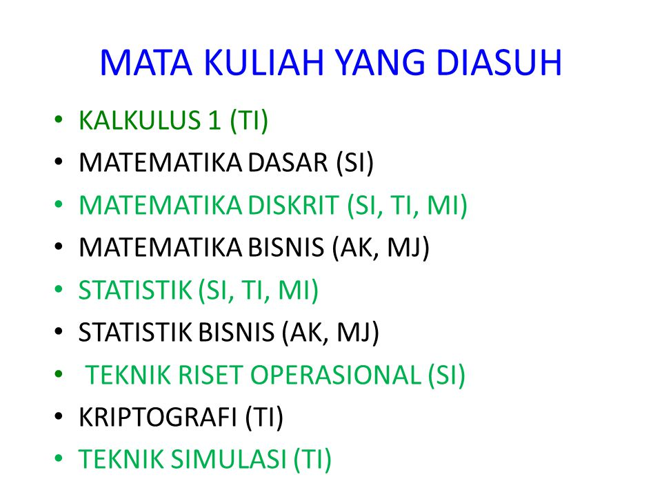 MATA KULIAH YANG DIASUH KALKULUS 1 (TI) MATEMATIKA DASAR (SI) MATEMATIKA DISKRIT (SI, TI, MI) MATEMATIKA BISNIS (AK, MJ) STATISTIK (SI, TI, MI) STATISTIK BISNIS (AK, MJ) TEKNIK RISET OPERASIONAL (SI) KRIPTOGRAFI (TI) TEKNIK SIMULASI (TI)