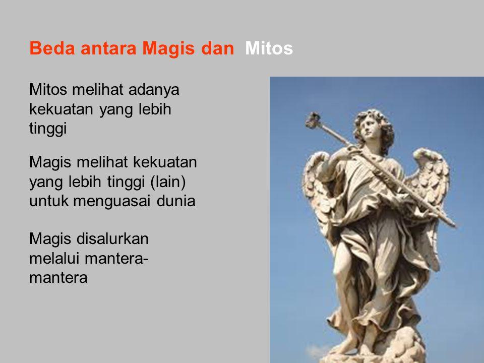 Mitos melihat adanya kekuatan yang lebih tinggi Magis melihat kekuatan yang lebih tinggi (lain) untuk menguasai dunia Magis disalurkan melalui mantera