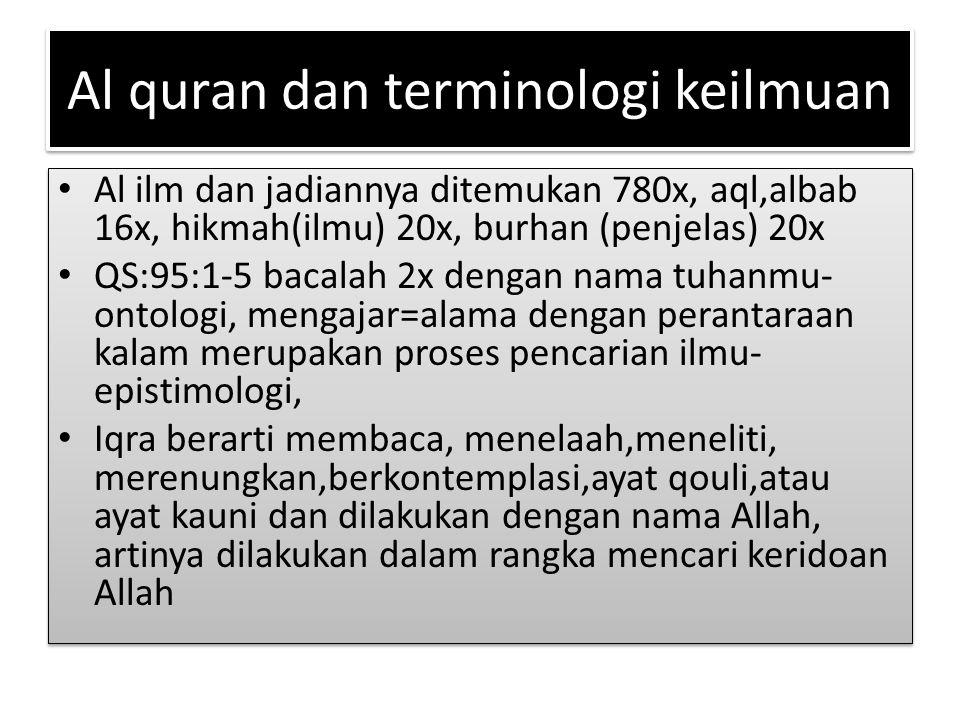 Al quran dan terminologi keilmuan Al ilm dan jadiannya ditemukan 780x, aql,albab 16x, hikmah(ilmu) 20x, burhan (penjelas) 20x QS:95:1-5 bacalah 2x den