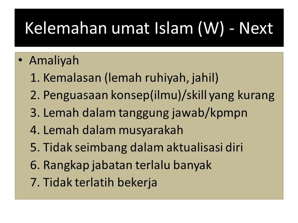 Kelemahan umat Islam (W) - Next Amaliyah 1. Kemalasan (lemah ruhiyah, jahil) 2. Penguasaan konsep(ilmu)/skill yang kurang 3. Lemah dalam tanggung jawa