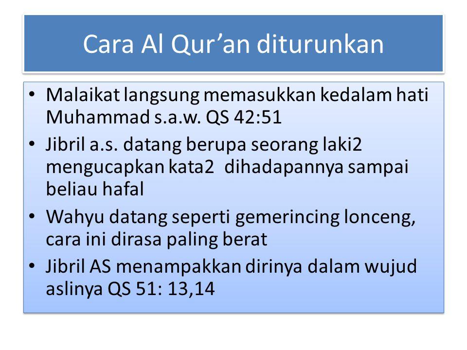 Cara Al Qur'an diturunkan Malaikat langsung memasukkan kedalam hati Muhammad s.a.w. QS 42:51 Jibril a.s. datang berupa seorang laki2 mengucapkan kata2