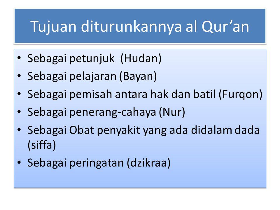 Tujuan diturunkannya al Qur'an Sebagai petunjuk (Hudan) Sebagai pelajaran (Bayan) Sebagai pemisah antara hak dan batil (Furqon) Sebagai penerang-cahay