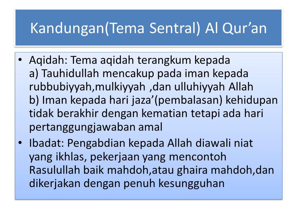 Kandungan(Tema Sentral) Al Qur'an Aqidah: Tema aqidah terangkum kepada a) Tauhidullah mencakup pada iman kepada rubbubiyyah,mulkiyyah,dan ulluhiyyah A