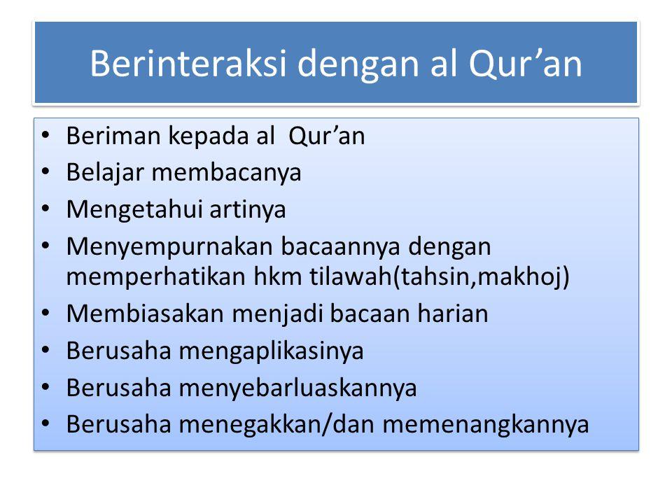 Berinteraksi dengan al Qur'an Beriman kepada al Qur'an Belajar membacanya Mengetahui artinya Menyempurnakan bacaannya dengan memperhatikan hkm tilawah