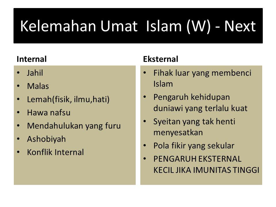Kelemahan Umat Islam (W) - Next Internal Jahil Malas Lemah(fisik, ilmu,hati) Hawa nafsu Mendahulukan yang furu Ashobiyah Konflik Internal Eksternal Fi