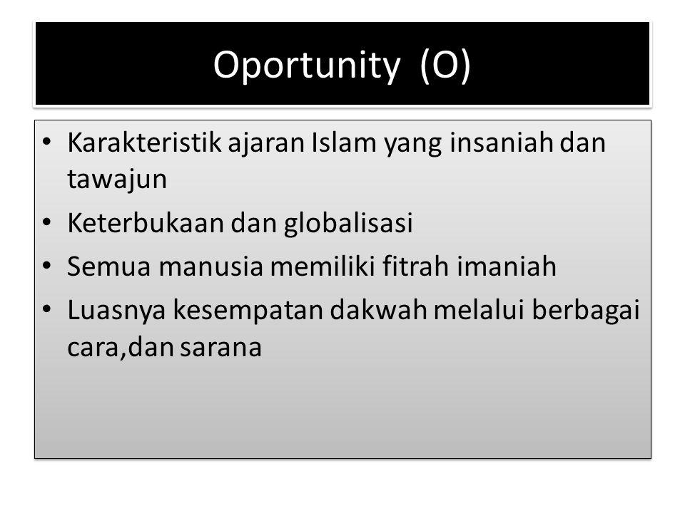 Oportunity (O) Karakteristik ajaran Islam yang insaniah dan tawajun Keterbukaan dan globalisasi Semua manusia memiliki fitrah imaniah Luasnya kesempat