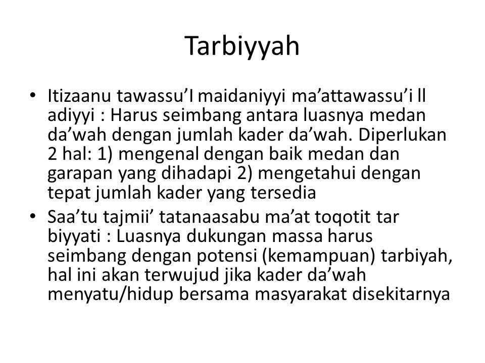 Tarbiyyah Itizaanu tawassu'I maidaniyyi ma'attawassu'i ll adiyyi : Harus seimbang antara luasnya medan da'wah dengan jumlah kader da'wah. Diperlukan 2