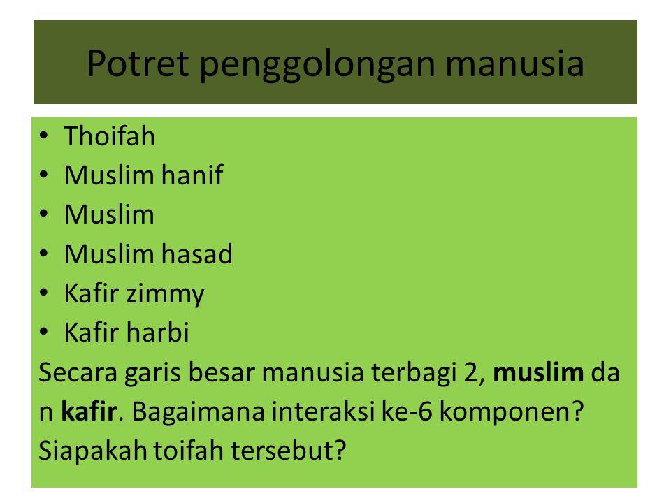 Potret penggolongan manusia Thoifah Muslim hanif Muslim Muslim hasad Kafir zimmy Kafir harbi Secara garis besar manusia terbagi 2, muslim da n kafir.