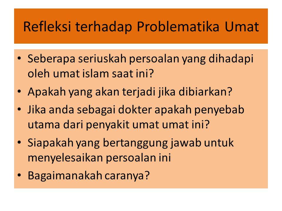 Refleksi terhadap Problematika Umat Seberapa seriuskah persoalan yang dihadapi oleh umat islam saat ini? Apakah yang akan terjadi jika dibiarkan? Jika