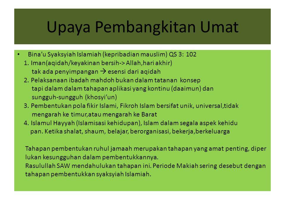 Upaya Pembangkitan Umat Bina'u Syaksyiah Islamiah (kepribadian mauslim) QS 3: 102 1. Iman(aqidah/keyakinan bersih-> Allah,hari akhir) tak ada penyimpa