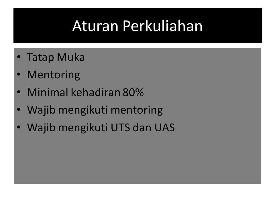 Aturan Perkuliahan Tatap Muka Mentoring Minimal kehadiran 80% Wajib mengikuti mentoring Wajib mengikuti UTS dan UAS