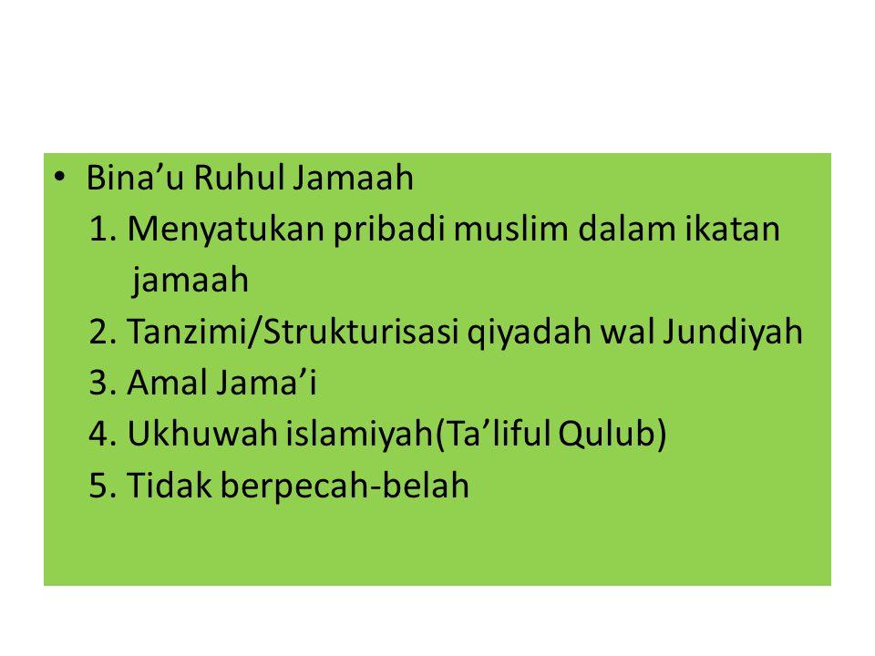 Bina'u Ruhul Jamaah 1. Menyatukan pribadi muslim dalam ikatan jamaah 2. Tanzimi/Strukturisasi qiyadah wal Jundiyah 3. Amal Jama'i 4. Ukhuwah islamiyah