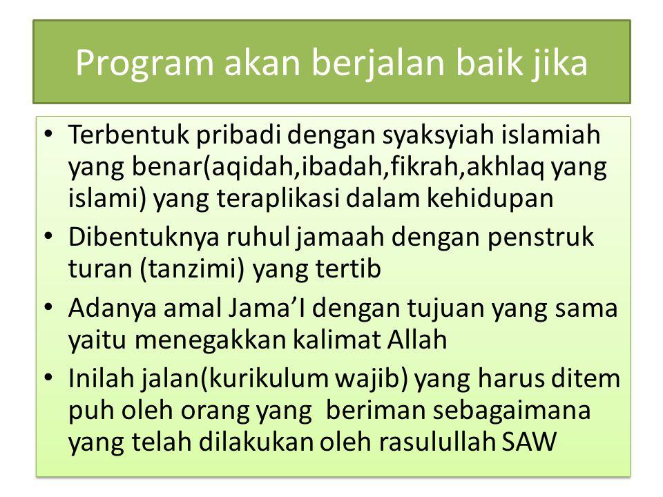 Program akan berjalan baik jika Terbentuk pribadi dengan syaksyiah islamiah yang benar(aqidah,ibadah,fikrah,akhlaq yang islami) yang teraplikasi dalam