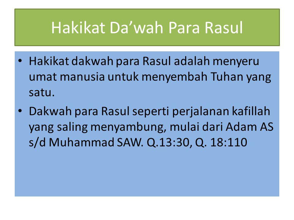 Hakikat Da'wah Para Rasul Hakikat dakwah para Rasul adalah menyeru umat manusia untuk menyembah Tuhan yang satu. Dakwah para Rasul seperti perjalanan