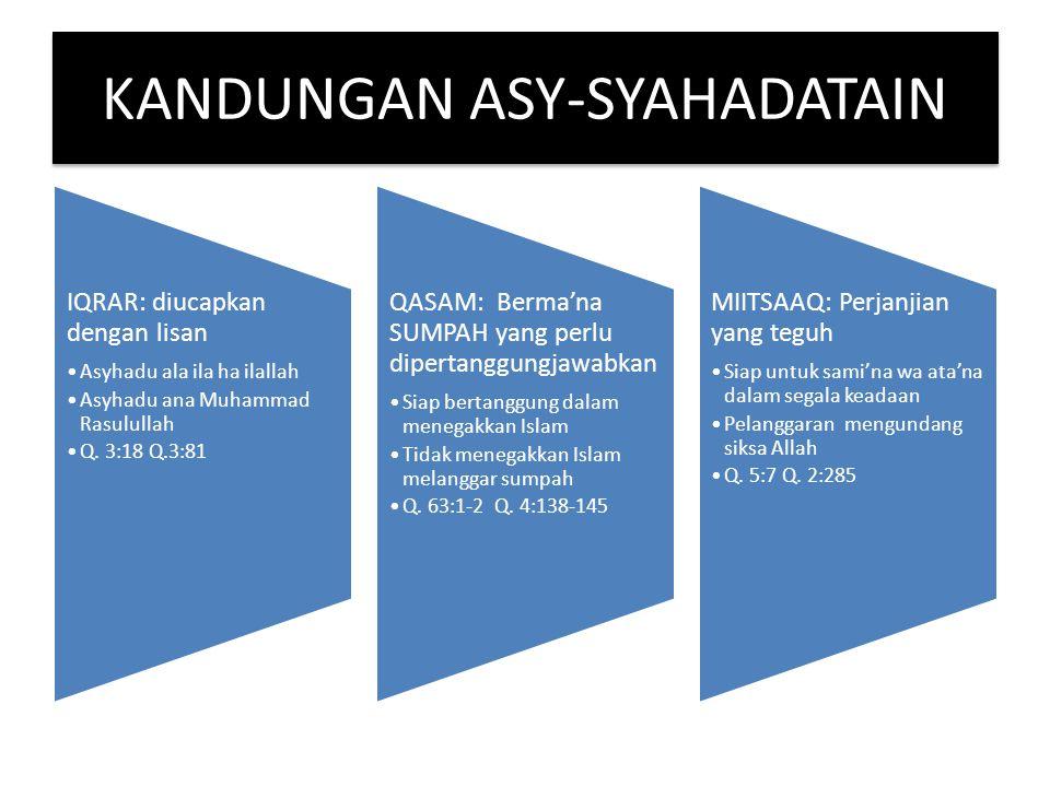 KANDUNGAN ASY-SYAHADATAIN IQRAR: diucapkan dengan lisan Asyhadu ala ila ha ilallah Asyhadu ana Muhammad Rasulullah Q. 3:18 Q.3:81 QASAM: Berma'na SUMP