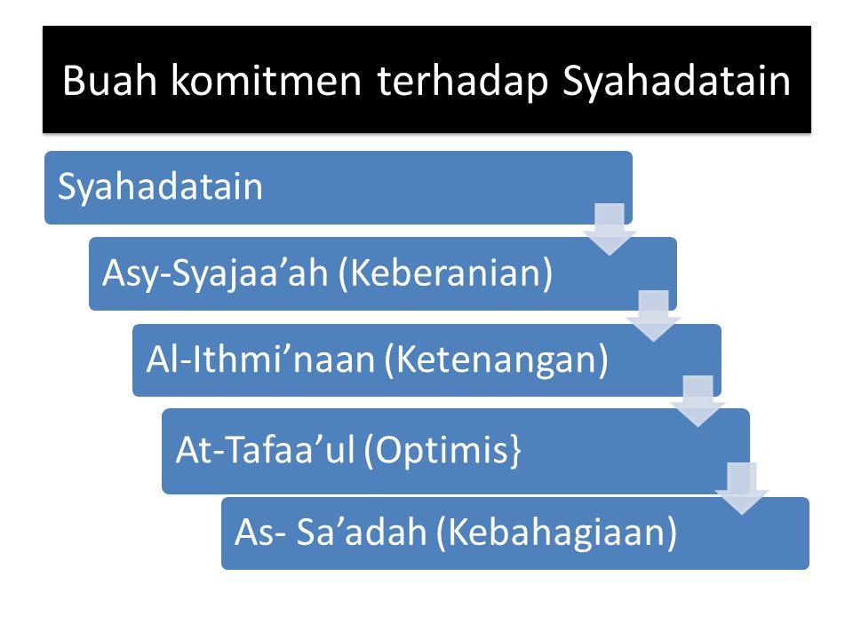 Buah komitmen terhadap Syahadatain SyahadatainAsy-Syajaa'ah (Keberanian)Al-Ithmi'naan (Ketenangan) At-Tafaa'ul (Optimis} As- Sa'adah (Kebahagiaan)