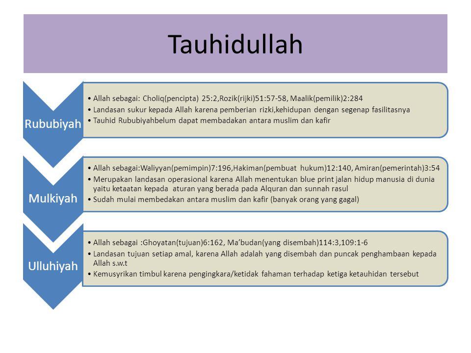 Tauhidullah Rububiyah Allah sebagai: Choliq(pencipta) 25:2,Rozik(rijki)51:57-58, Maalik(pemilik)2:284 Landasan sukur kepada Allah karena pemberian riz