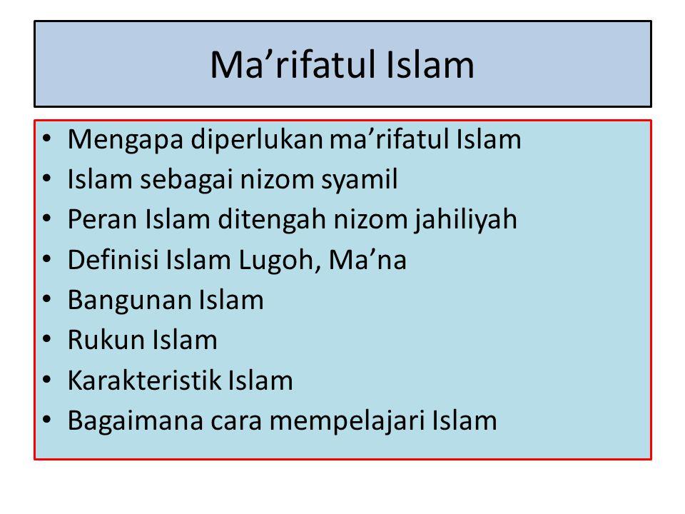 Ma'rifatul Islam Mengapa diperlukan ma'rifatul Islam Islam sebagai nizom syamil Peran Islam ditengah nizom jahiliyah Definisi Islam Lugoh, Ma'na Bangu