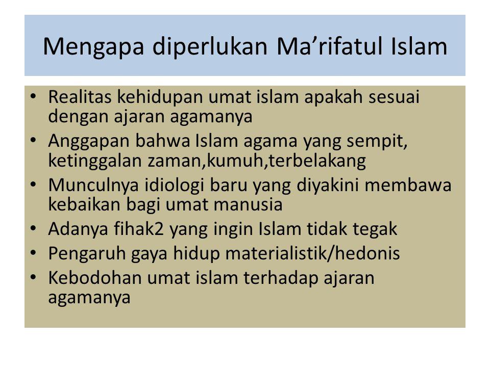 Mengapa diperlukan Ma'rifatul Islam Realitas kehidupan umat islam apakah sesuai dengan ajaran agamanya Anggapan bahwa Islam agama yang sempit, ketingg