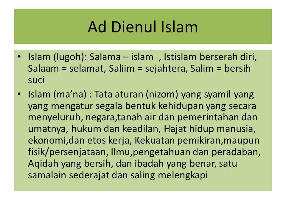 Ad Dienul Islam Islam (lugoh): Salama – islam, Istislam berserah diri, Salaam = selamat, Saliim = sejahtera, Salim = bersih suci Islam (ma'na) : Tata