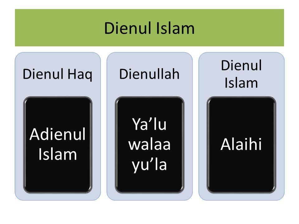 Dienul Islam Dienul Haq Adienul Islam Dienullah Ya'lu walaa yu'la Dienul Islam Alaihi