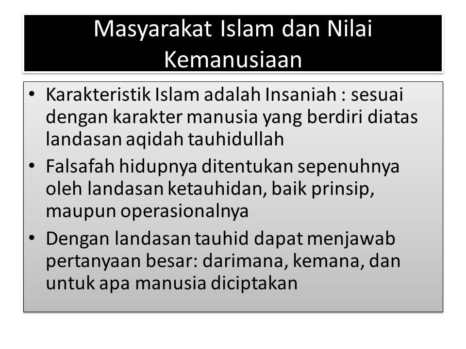 Masyarakat Islam dan Nilai Kemanusiaan Karakteristik Islam adalah Insaniah : sesuai dengan karakter manusia yang berdiri diatas landasan aqidah tauhid