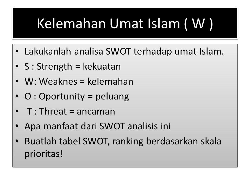 Kelemahan Umat Islam ( W ) Lakukanlah analisa SWOT terhadap umat Islam. S : Strength = kekuatan W: Weaknes = kelemahan O : Oportunity = peluang T : Th