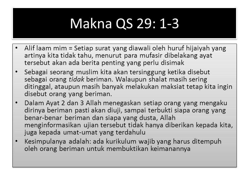 Makna QS 29: 1-3 Alif laam mim = Setiap surat yang diawali oleh huruf hijaiyah yang artinya kita tidak tahu, menurut para mufasir dibelakang ayat ters