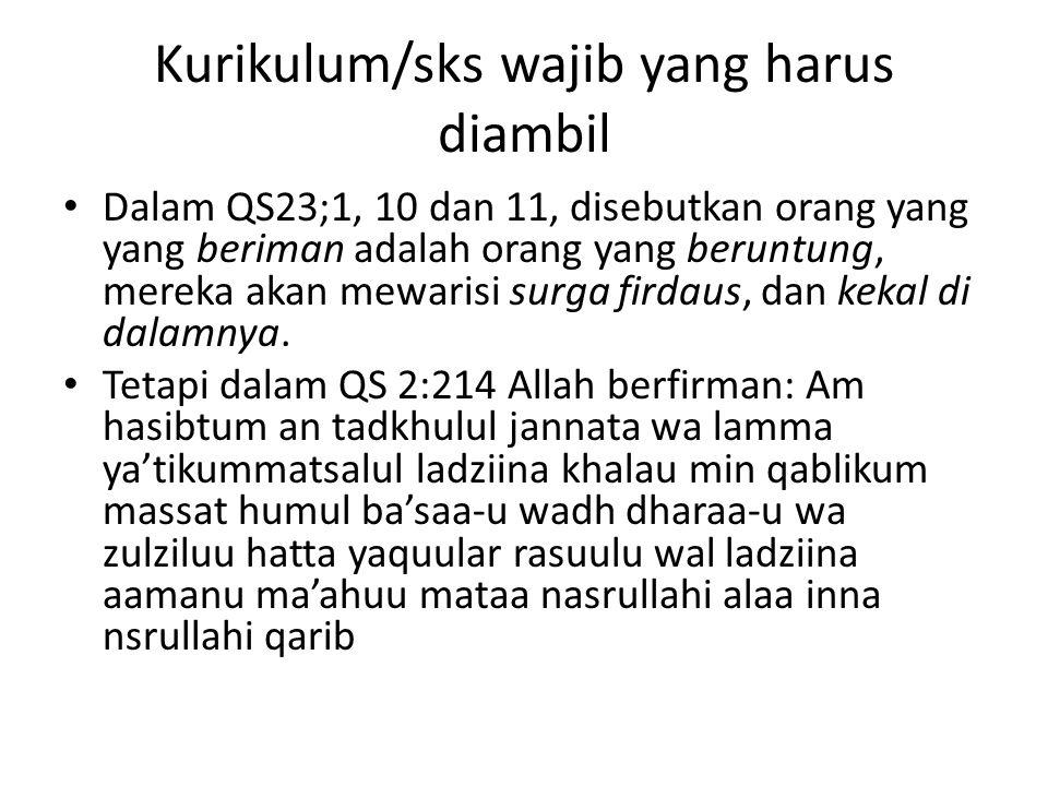 Kurikulum/sks wajib yang harus diambil Dalam QS23;1, 10 dan 11, disebutkan orang yang yang beriman adalah orang yang beruntung, mereka akan mewarisi s