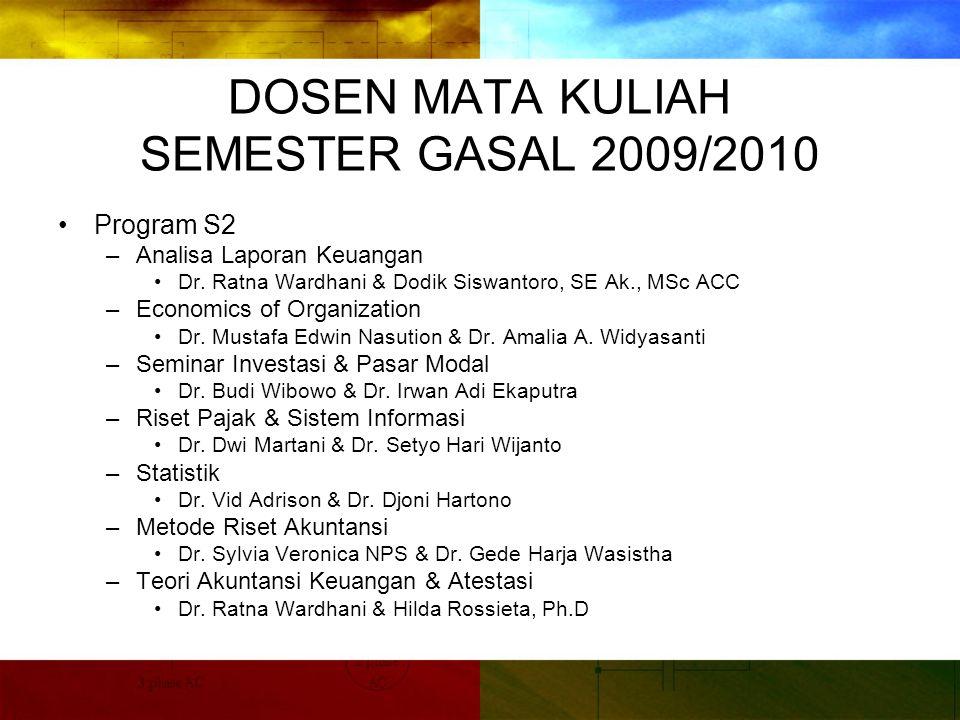 DOSEN MATA KULIAH SEMESTER GASAL 2009/2010 Program S2 –Analisa Laporan Keuangan Dr.