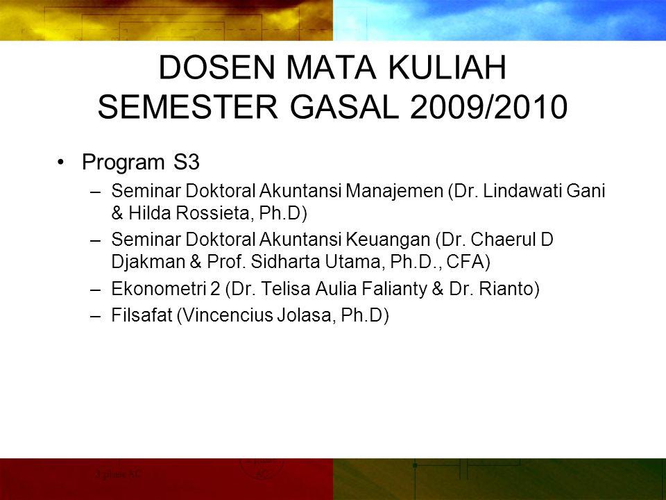 DOSEN MATA KULIAH SEMESTER GASAL 2009/2010 Program S3 –Seminar Doktoral Akuntansi Manajemen (Dr.