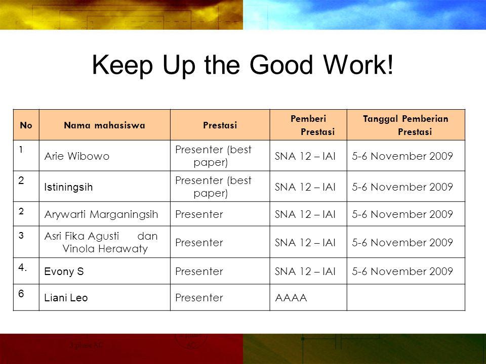 Keep Up the Good Work.