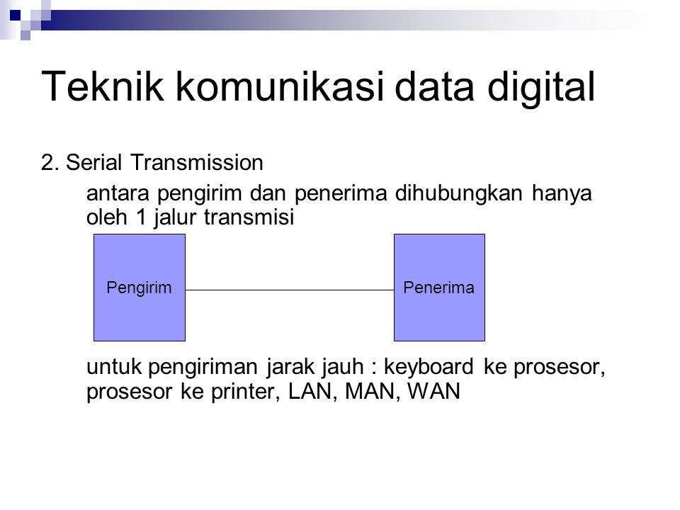 Teknik komunikasi data digital 2. Serial Transmission antara pengirim dan penerima dihubungkan hanya oleh 1 jalur transmisi untuk pengiriman jarak jau