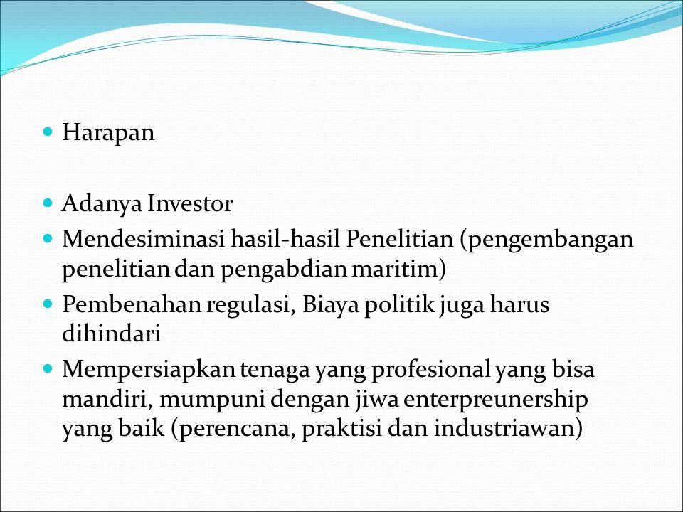 Harapan Adanya Investor Mendesiminasi hasil-hasil Penelitian (pengembangan penelitian dan pengabdian maritim) Pembenahan regulasi, Biaya politik juga