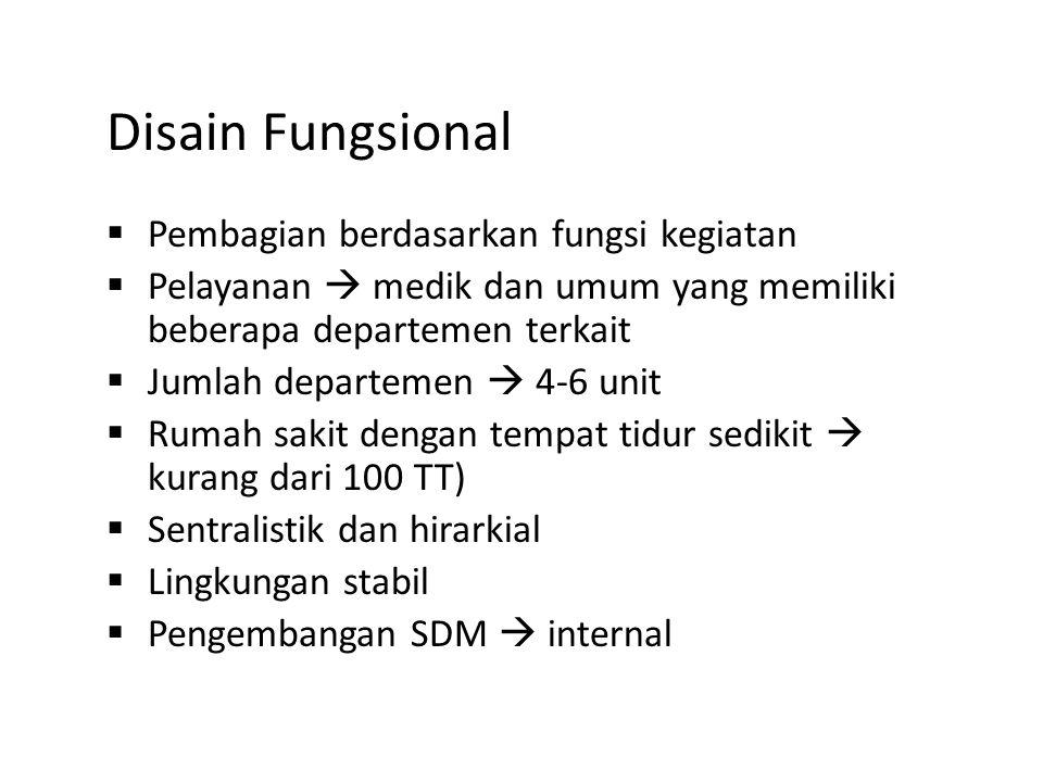 Disain Fungsional  Pembagian berdasarkan fungsi kegiatan  Pelayanan  medik dan umum yang memiliki beberapa departemen terkait  Jumlah departemen 