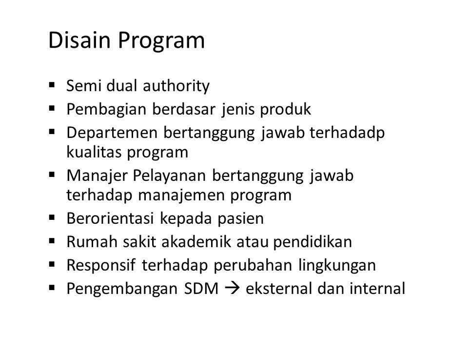 Disain Program  Semi dual authority  Pembagian berdasar jenis produk  Departemen bertanggung jawab terhadadp kualitas program  Manajer Pelayanan b