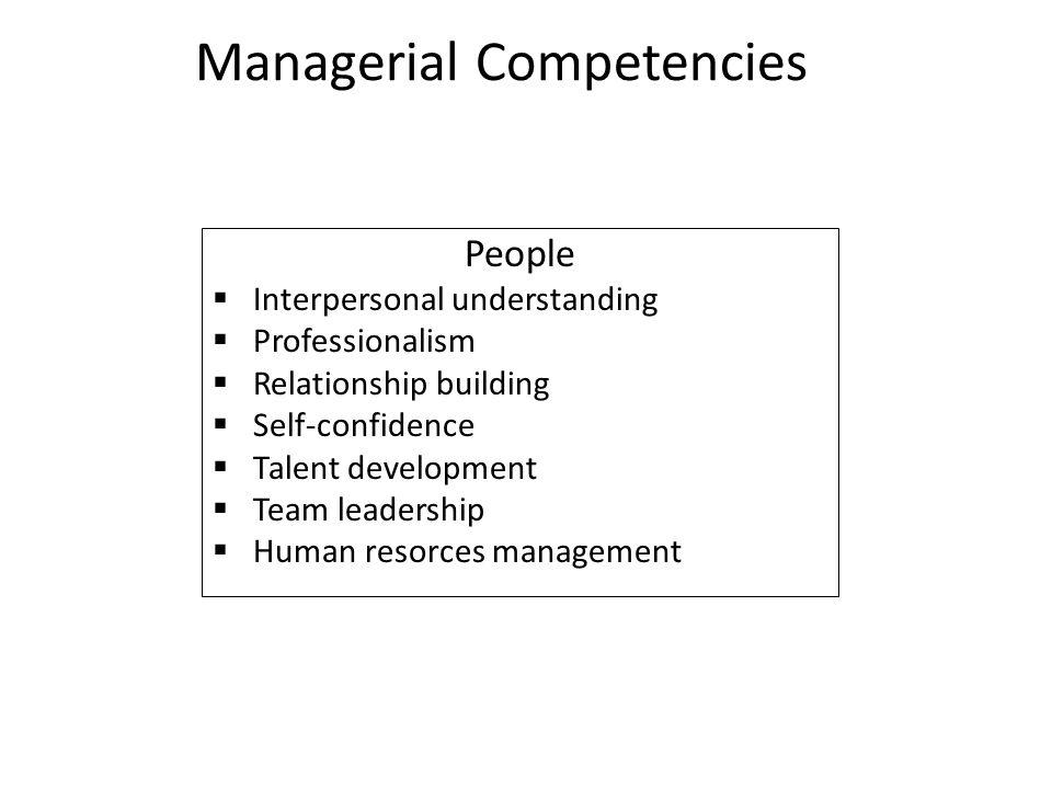 Managerial Competencies People  Interpersonal understanding  Professionalism  Relationship building  Self-confidence  Talent development  Team l