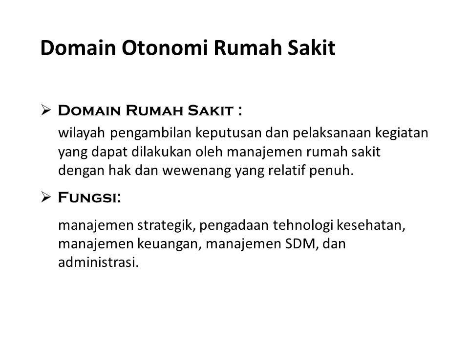 Domain Otonomi Rumah Sakit  Domain Rumah Sakit : wilayah pengambilan keputusan dan pelaksanaan kegiatan yang dapat dilakukan oleh manajemen rumah sak