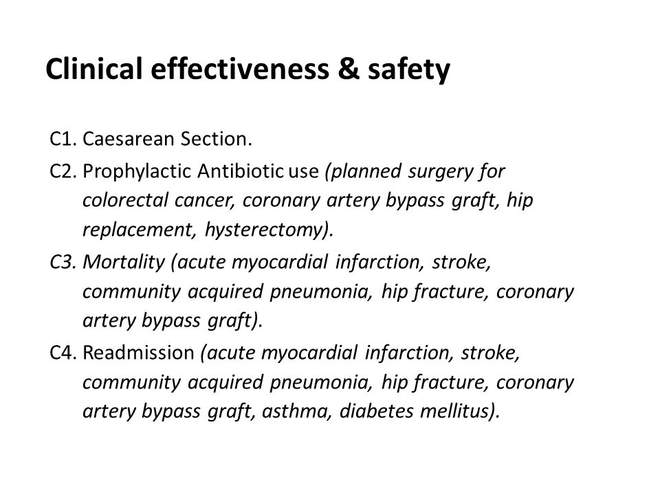 Clinical effectiveness & safety C1. Caesarean Section. C2. Prophylactic Antibiotic use (planned surgery for colorectal cancer, coronary artery bypass