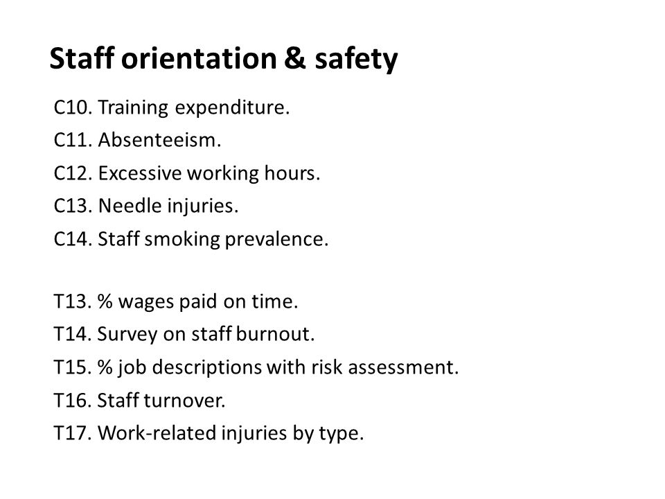 Staff orientation & safety C10. Training expenditure. C11. Absenteeism. C12. Excessive working hours. C13. Needle injuries. C14. Staff smoking prevale