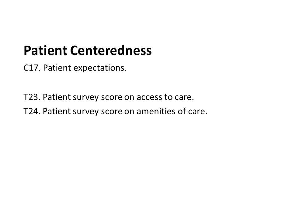 Patient Centeredness C17. Patient expectations. T23. Patient survey score on access to care. T24. Patient survey score on amenities of care.