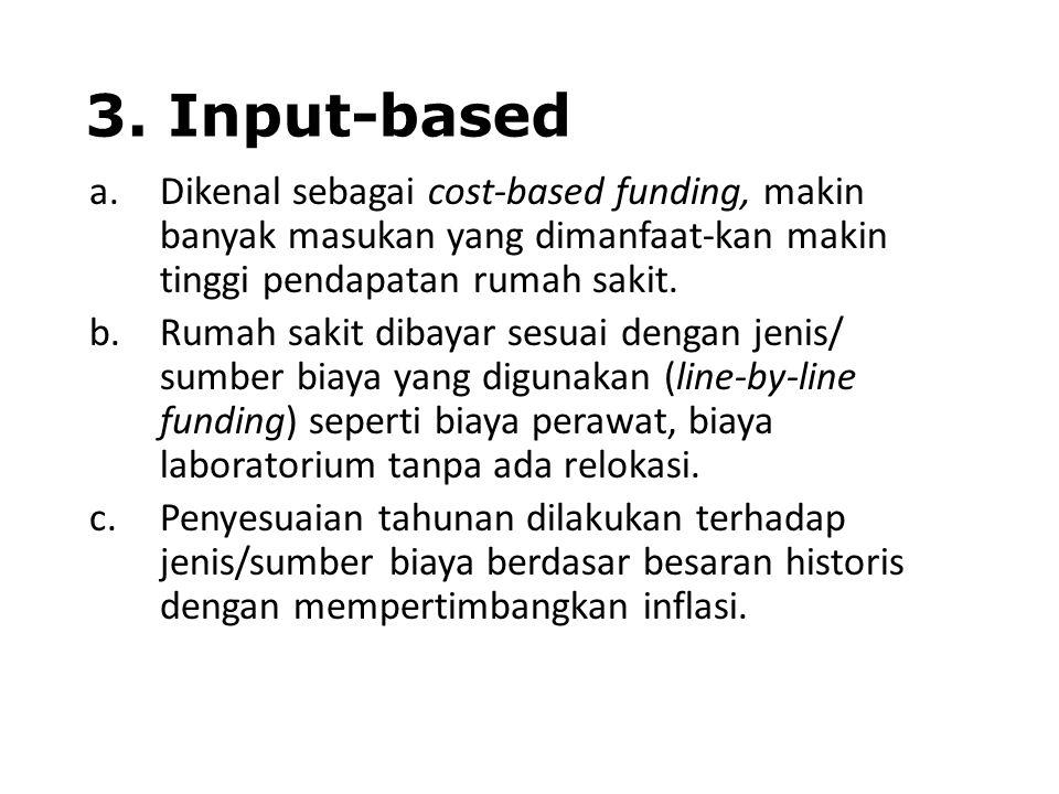 3. Input-based a.Dikenal sebagai cost-based funding, makin banyak masukan yang dimanfaat-kan makin tinggi pendapatan rumah sakit. b.Rumah sakit dibaya