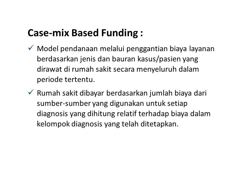 Case-mix Based Funding : Model pendanaan melalui penggantian biaya layanan berdasarkan jenis dan bauran kasus/pasien yang dirawat di rumah sakit secar