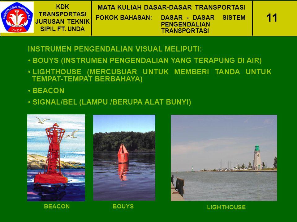 KDK TRANSPORTASI JURUSAN TEKNIK SIPIL FT. UNDA MATA KULIAH DASAR-DASAR TRANSPORTASI POKOK BAHASAN:DASAR - DASAR SISTEM PENGENDALIAN TRANSPORTASI 11 IN